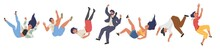 Falling Character Set, Flat Vector Illustration. Shocked Falling Down People Because Of Stumbling, Slipping, Accident.