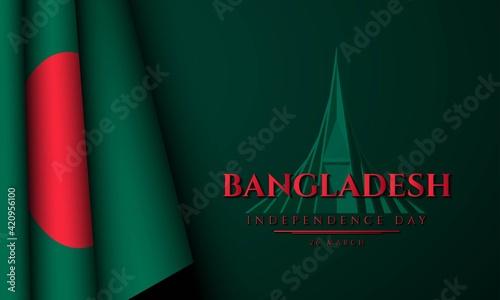 Tablou Canvas Bangladesh Independence Day Background. Vector Illustration.