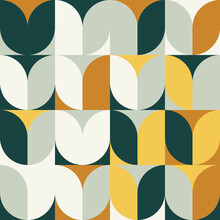 Mid-Century Aesthetics Artwork With Abstract Vector Pattern Design And Geometric Shapes