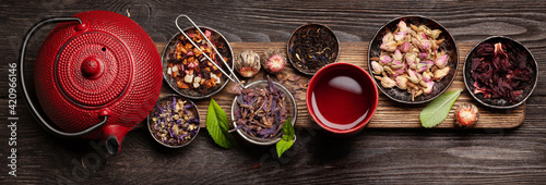 Fototapeta Various herbal tea, teapot and cup obraz