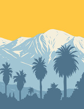 WPA Poster Art Of San Gabriel Mountains National Monument Located In Angeles And San Bernardino National Forest In California In Works Project Administration Style Style Or Federal Art Project Style.