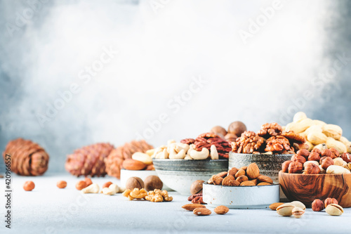 Fototapeta Assortment of nuts in bowls. Cashews, hazelnuts, walnuts, pistachios, pecans, pine nuts, peanuts, macadamia, almonds, brazil nuts. Food mix on gray background, copy space obraz