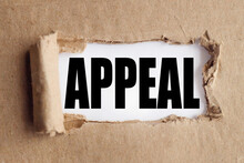 Appeal. Text On White Paper Over Torn Paper Background.