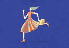 Running Girl With Blue Background