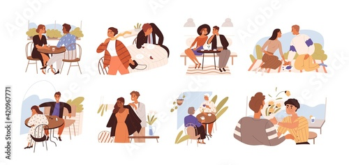 Young romantic couples on good and bad dates. Successful and unsuccessful dating concept. People during happy, sad and awkward meetings. Colored flat vector illustration isolated on white background