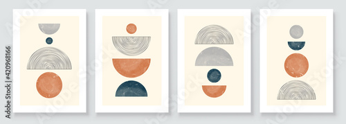 Fototapeta Mid Century Modern Design. A trendy set of Abstract Hand Painted Illustrations for Wall Decoration, Social Media Banner, Brochure Cover Design or Postcard Background. Aesthetic watercolor obraz