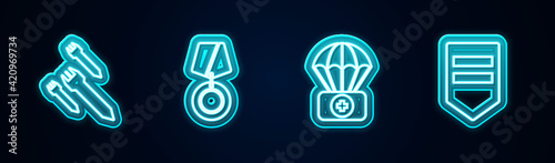 Set line Rocket, Military reward medal, Parachute with first aid kit and Chevron. Glowing neon icon. Vector