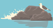 Seagull With Folded Wings And Closed Beak Standing On Stone For Ocean Landscape Vector Illustration