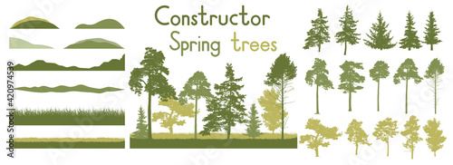 Fototapeta Spring trees, constructor kit. Beautiful silhouettes of spruce and pine and coniferous trees and etc., grass. Set of design elements. Vector illustration. obraz