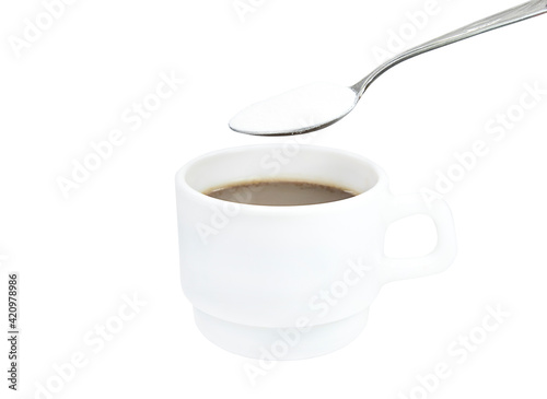 white mug with coffee and spoon with dry cream isolate Fototapete