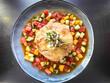 Leinwandbild Motiv Crispy vegetable tourt with spicy tomato  juice.
