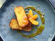 Leinwandbild Motiv Orange cake with fruit and marmalade