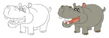 Hippo  Coloring Book Drawing Education Cute Animal Letter H Abc  Happy, Character, White, Funny, Hippopotamus, Background, Lion, Comic, Set, Children, Line,