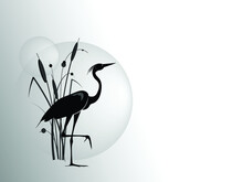 A Silhouette Of Stand On One Leg Heron Against The Backdrop Of A Cattail Bush And Large Sun Circle. Vector Drawing.