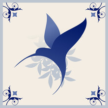 Illustrated Ceramic Hydraulic Tile Typical Of Spain, Italy And Portugal. Stylized Vintage Retro Flower And Leaves. Stylized Image Of Bird