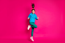 Full Size Photo Of Young Cute Pretty Lovely Attractive Beautiful Girl Jumping And Pout Lips Isolated On Pink Color Background