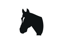 Horse Head Vector Illustration, Black And White Picture Isolated On White Background