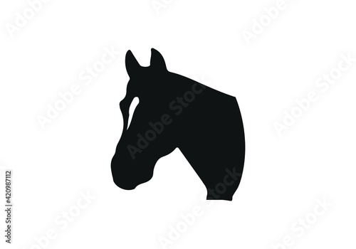 Photographie horse head vector illustration, black and white picture isolated on white backgr