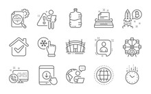 Developers Chat, Time And Typewriter Icons Set. Seo Stats, Globe And Scroll Down Signs. Vector