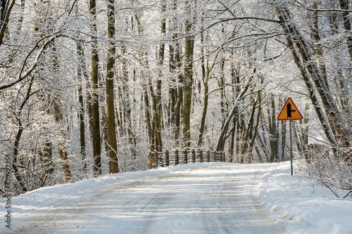 Fototapeta droga zimą obraz