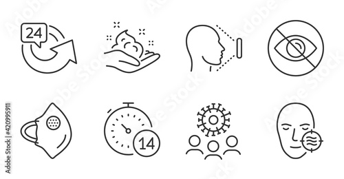 Face id, Problem skin and 24 hours icons set. Quarantine, Coronavirus and Not looking signs. Vector