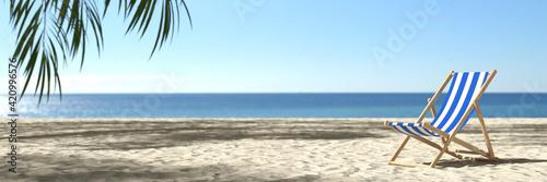 Fototapeta Leerer Strand mit Strandliege im Sommer in der Karibik obraz