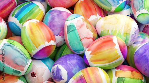 Fototapeta Mit Wasserfarben bemalte Ostereier zu Ostern obraz