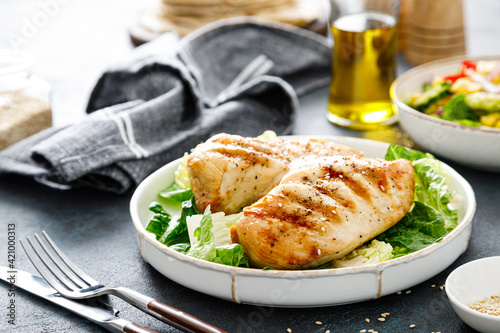 Fototapeta Grilled chicken breast, barbecued meat obraz