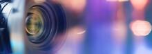 Camera Lens Close Up And Blue Background