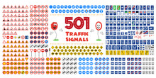 Full Collection Of 501 Traffic Or Road Signals Isolated On White Background. Vector Illustration Icon Set