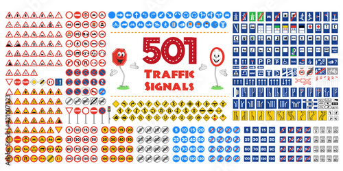Full collection of 501 Traffic or Road signals isolated on white background Fototapeta