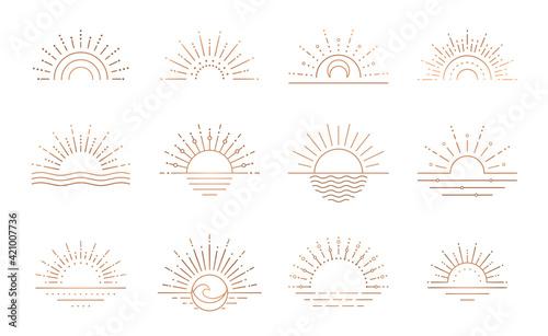 Boho sunrise logo, sun line art vector Fotobehang