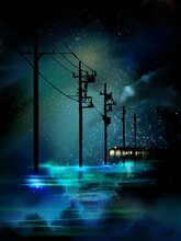 A Mysterious Landscape Where The Blue Night Sky Is Reflected In The Sea And Utility Poles And A Train Disappear Beyond The Horizon