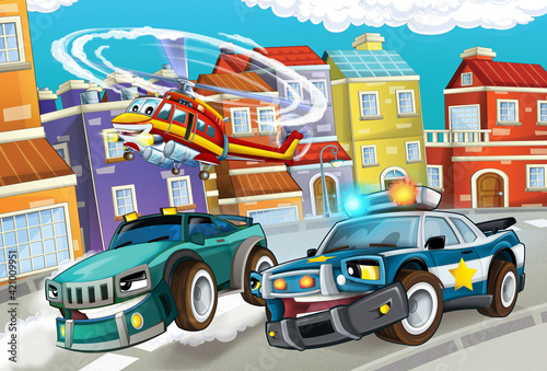 Fototapety, obrazy: cartoon scene with cars vehicles on street with fireman