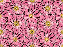 Seamless Large Pattern. Pink Mallow Flowers. In The Style Of Illustration Sketch By Hand.