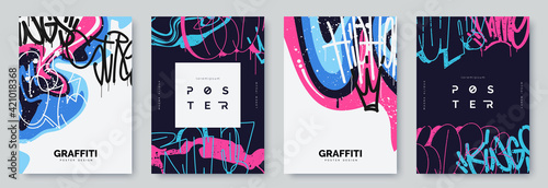 Fototapeta Abstract graffiti poster with colorful tags, paint splashes, scribbles and throw up pieces. Street art background collection. Artistic covers set in hand drawn graffiti style. Vector illustration obraz