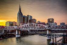 Nashville Skyline Along The Cumberland River From The Korean Veterans Blvd Bridge