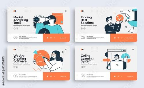 Set of Presentation slide templates or landing page websites design. Business concept illustrations. Modern flat style
