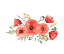 Floral Arrangement Of Red Poppies And Wild Herbs On White Isolated Background. Watercolor Illustration. For Cards, Stickers, Stationery, Mugs And More. Cute Painting For Bright Summer Days.