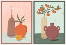 Set Of Wall Art Paintings. Still Life Composition With Vases, Plants. Green Botanical, Tangerine Branch, Lemon. Hand Drawn Modern Trendy Style.