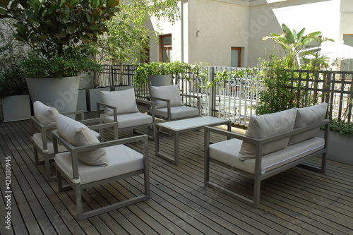 Obraz patio with chairs - fototapety do salonu