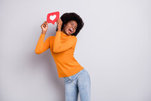 Photo Of Young Black Woman Happy Positive Smile Hold Heart Like Reaction Icon Click Popular Isolated Over Grey Color Background