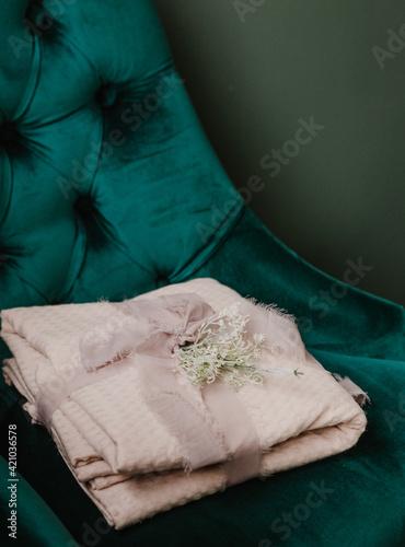 Fototapeta room interior stylish green spring decor bedroom obraz na płótnie