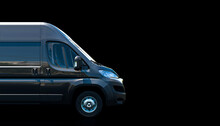 Black Van On A Dark Background.