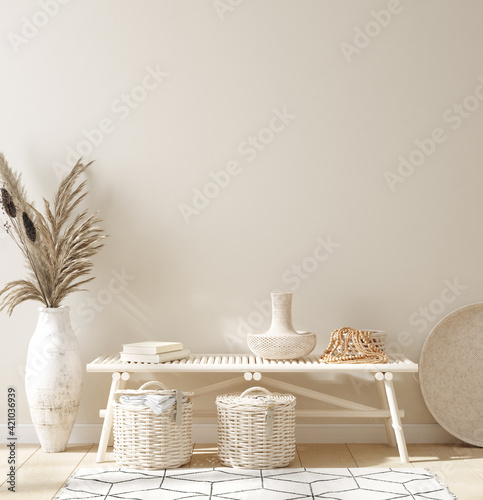 Leinwand Poster Mock up in home interior background, Scandinavian style, 3d render