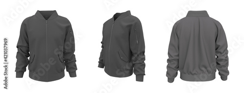 Foto Bomber jacket mockup, design presentation for print, 3d illustration, 3d renderi
