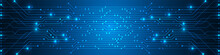 Abstract Digital Technology Background, Blue Circuit Board Pattern, Microchip, Power Line