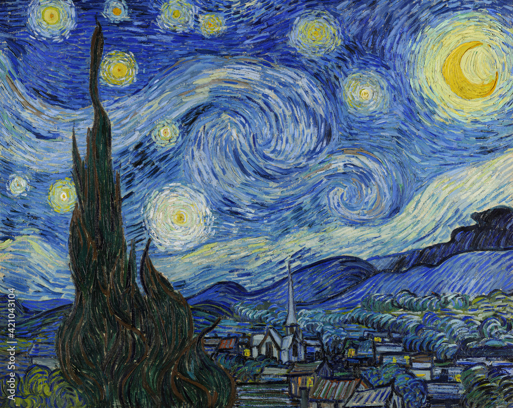 Vincent van Gogh, (1853-1890) The Starry Night, 1889, oil on canvas. Museum of Modern Art, New York City.