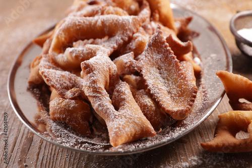 Obraz na plátně fried bugne and sugar- french gastronomy
