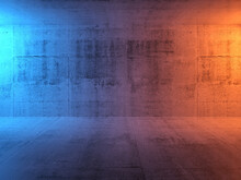 Abstract Concrete Interior Background, Empty Room